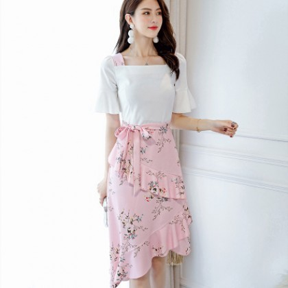 ab32c6fe4a Women White Top Floral Skirt Short Bell Sleeve Wrap Around Skirt ...