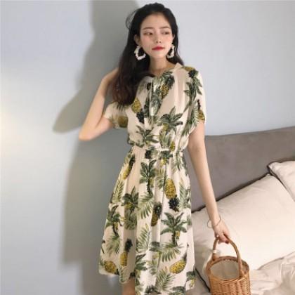 Women Pineapple Print Bow Lace Slim Waist Summer Fashion Dress