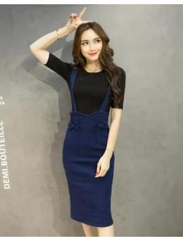 [PRE-ORDER] Women Denim Jumper Skirt Slim Fit Strap Dress Plus Size Bottom