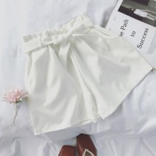 Women Solid Color Bow Tie Waist Wide Leg Loose High Waist Short Pants