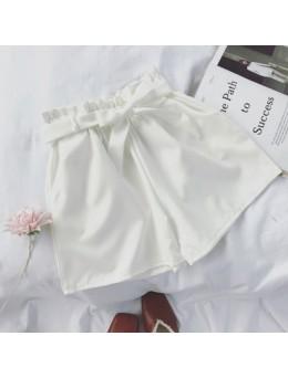[PRE-ORDER] Women Solid Color Bow Tie Waist Wide Leg Loose High Waist Short Pants