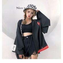 Women Black Japanese Style Loose Kimono Summer Protection Coat
