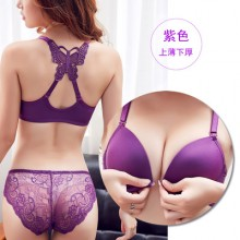 Women Front Buckle Butterfly Back Design No Rim Sexy Lace Lingerie Set