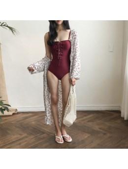[PRE-ORDER] Women One Piece Swimwear Sexy Strap Ribbon Cross Tie Summer Beach Plus Size Swimsuit