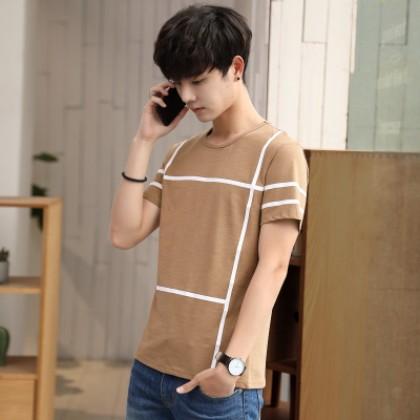 Men's Line Shirt Handsome Trend Half Sleeve Round Collar Plus Size Tees