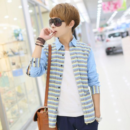 Men's Stripe Candy Colored Polo Long Sleeves Plus Size Casual Trend Shirts