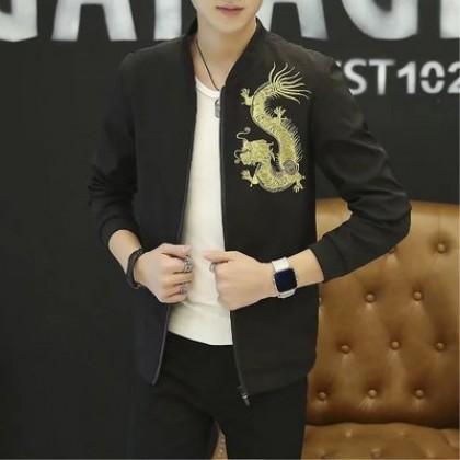 Men's Dragon Black Handsome Trend Long Sleeve Plus Size Jacket