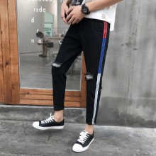 Men's Denim Ripped Jeans Summer Guy Trend Cropped Pants