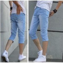 Men's Denim Slim Fit Street Guy Handsome Trend Long Short Plus Size Pants