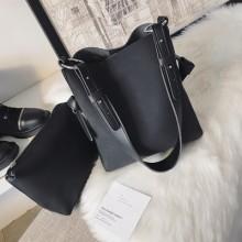 Women Soft Leather Simple Tote Bag Student Fashion Messenger Shoulder Bag