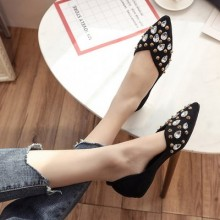 Women Diamond Beads Pointed Toe Ladies Peas Shoes Suede Flat Shoes