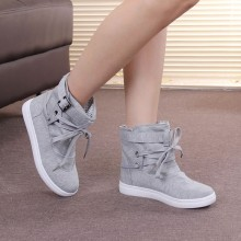 Women Solid Color High Cut Canvas Casual Shoes Plus Size Low Heel Boots