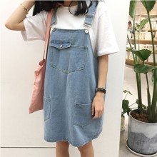 Women Denim Jumper Skirt Large Loose Fit Student Street Fashion Plus Size Dress