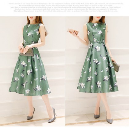 Women Floral A Cut Skirt Sleeveless Slim Waist Ladies Fashion Plus Size Dress