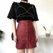 Women Red Leather Skirt High Waist Front Buttons Slim Fit Sexy Bottoms
