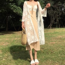 Women Lace Cardigan Loose Long Sleeves Female Coat Sun Protection Jacket