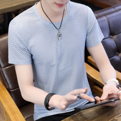 Men's Quick Dry Shirt Round Neck Breathable Cloth Short Sleeve Guy Trend Plus Size Tees