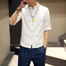 Men's Linen Plain Colored Shirt Standing Collar Folded Sleeve Plus Size Casual Polo Shirt