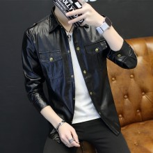 Men's Black Leather Jacket Slim Fit Casual Men Fashion Jacket