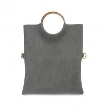 Women Vertical Square Envelope Bag Folding Hand Bag Metal Ring Handle Ladies Bag