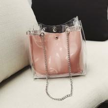 Women Transparent Jelly Bag Square Shoulder Bag Ladies Fashion Chain Bag