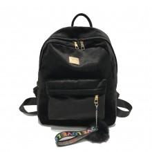 Women Velvet Plain Colored Bag Large Capacity Student Fashion Backpack