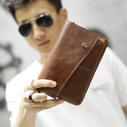 Men's Brown Leather Clutch Bag Zipper Coin Pocket Mobile Case Small Wallet