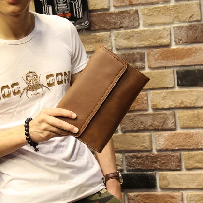 Men's Soft Leather Clutch Bag Easy To Carry Handle Casual Medium Size Mobile Wallet