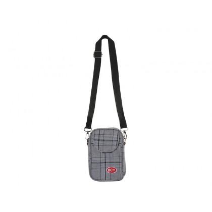 Men's Plaid Plain Mobile Case Unisex Messenger Bag Couple Sling Cross Body Bag