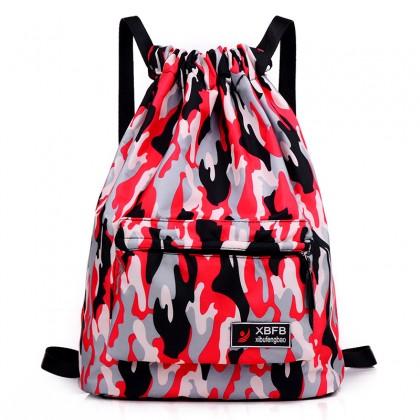 Men's Drawstring Canvas Bag Camo Plain Color Unisex Couple Travel Backpack