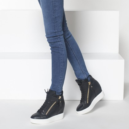 Women Sneaker Boots Side Zipper Lace Up Strap Chic Fashion Plus Size High Heel Boots