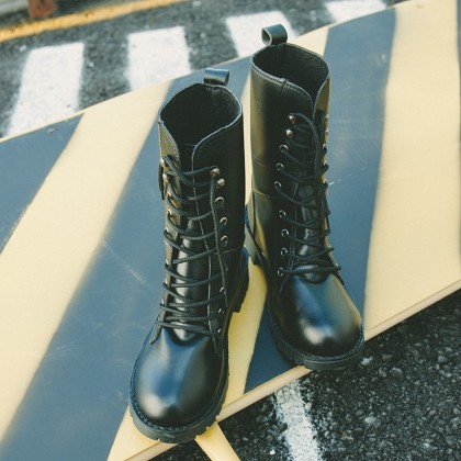 Women Black Military Boots Lace Up High Fashion Boots Couple Plus Size Shoes
