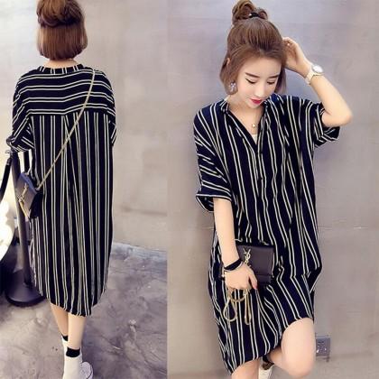 Women Stripe V Neck Ladies Dress Medium Sleeve Loose Plus Size Dress