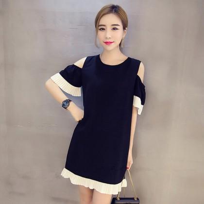 Women Cold Shoulder Dress Mid Skirt Loose Plus Size Fashion Dress