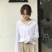 Women Plain Simple Hoodie Jacket Long Sleeve Cotton Ladies Tops