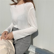 Women Plain Color Round Collar Long Sleeve Chic Fashion Loose Tops