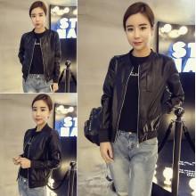 Women Black Leather Ladies Jacket Long Sleeve Zipper Fashion Jacket