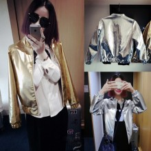 Women Party Fashion Jacket Bright Baseball Style Plus Size Jacket