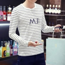 Men's Stripe Long Sleeve Round Neck Casual Guy Trend Plus Size Shirt