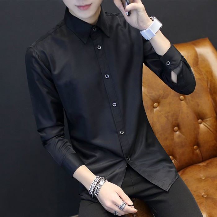 b9f58b1bc3a Men s Office Business Attire Long Sleeve Male Fashion Polo Shirt