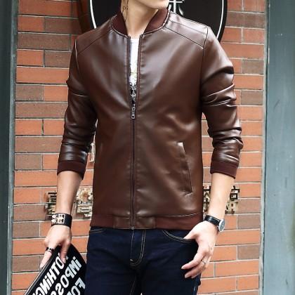 Men's Leather Jacket Motorcycle Coat Zippered Plus Size Male Jacket