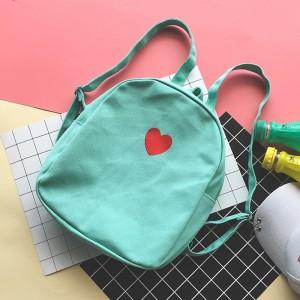 Women Cute Love Heart Backpack Soft Cloth Small Teen Fashion Bag