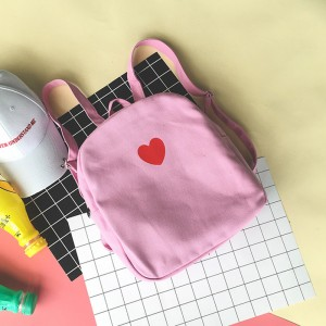 Women Cute Love Heart Backpack Soft Cloth Small Teen Fashion Bag