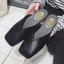 Women Grandma Slipper Square Head Slip On Casual Ladies Flat Sandals