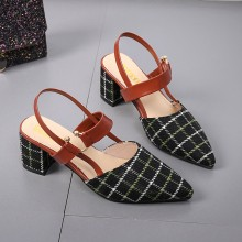 Women Plaid Mary Jane Sandals Pointed Toe Fashion Thick High Heels