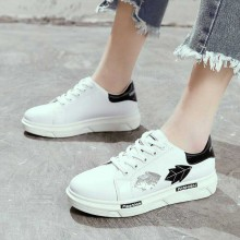Women Fashion Sneaker Shoes Medium Heel Lace Up Street Sports Shoes