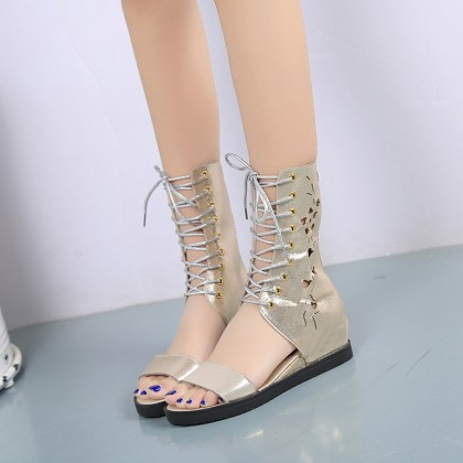 Women High Open Boots Lace Tie Metallic Style Fashion Ladies Shoes