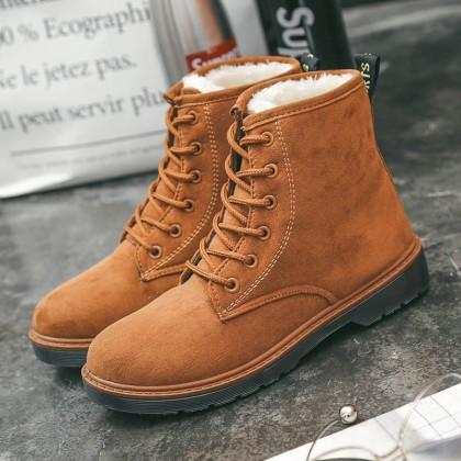 Women Velvet Martin Boots Lace Up Warm Shoes Fashion Plus Size Boots