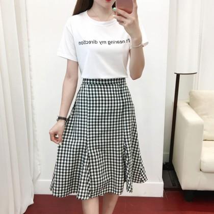 Women Checkered Skirt Blouse Set Ladies Fashion Plus Size Dress