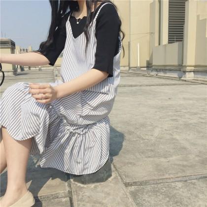 Women Long Striped Dress Spaghetti Strap Lotus Edge Chic Fashion